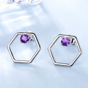 Sterling Silver Amethyst Stud Earrings For Women